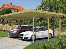 Deze eenvoudige Carport Enkel van Tuindeco heeft een damwandprofielplaten dak.